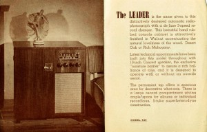 Photo of a brochure for the Chisholm Leader radio model 540