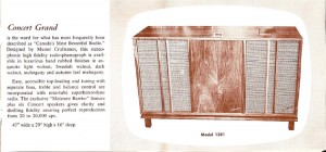 Photo of a brochure for the Chisholm Concert Grand radio model 1381