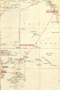 Photo of a map of the Pacific Ocean portion of the All Red Route