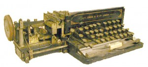 Photo of a perforator typewriter in the Bamfield collection