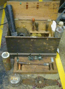 Photo of a cable splicer's tool chest in the Bamfield collection
