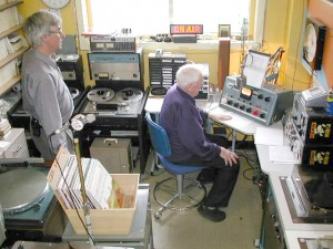 Photo of the broadcast studio area of SPARC with Peter and Jack in attendance